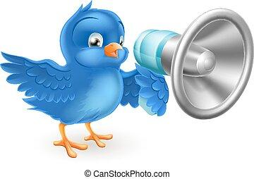 rysunek, błękitny ptaszek, z, mega, telefon