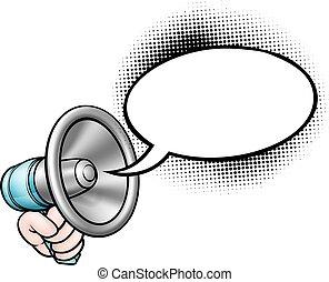 rysunek, bańka mowy, megafon