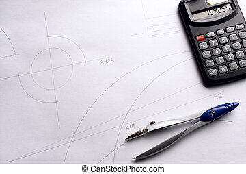 rysunek busola, i, kalkulator, na, blueprint.