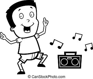 rysunek, chłopiec, taniec