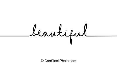 rysunek, ciągły, czarnoskóry, kreska, -, wyrażenie, jeden, word., minimalistic, piękny, ilustracja