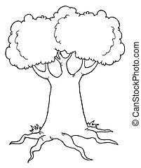 rysunek, cielna, konturowany, drzewo