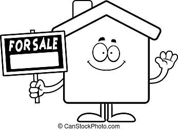 rysunek, dom, sprzedaż, falować