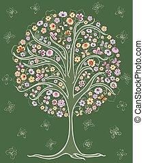 rysunek, drzewo, lato, kwiaty, motyle, stylizowany