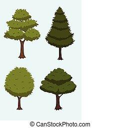 rysunek, drzewo, zbiór