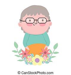 rysunek, dziadek, litera, liście, dzień, dziadkowie, sprytny, ozdoba, kwiaty