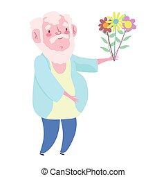 rysunek, dziadek, stary, grono, dzień, dziadkowie, szczęśliwy, kwiaty