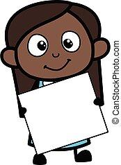 rysunek, dziewczyna, dzierżawa, czarnoskóry, chorągiew