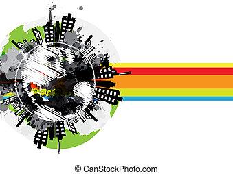 rysunek, globalny, miejski, chorągiew, projektować