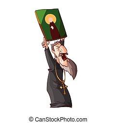 rysunek, gniewny, wschodnia cerkiew, ksiądz, albo, mnich