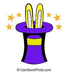 rysunek, ikona, kapelusz, królik
