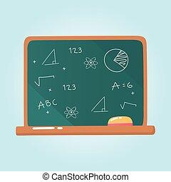 rysunek, ikona, tablica, kreda, wykształcenie, elementarna szkoła