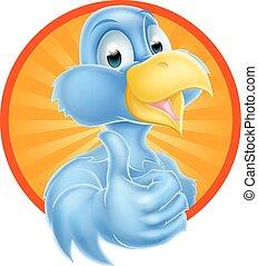 rysunek, kciuki do góry, niebieski ptak