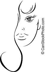 rysunek, kobieta, kontur, czuciowy, twarz