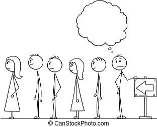 rysunek, kolejka, usługiwanie, mowa, nad, kreska, bańka, albo, opróżniać, człowiek