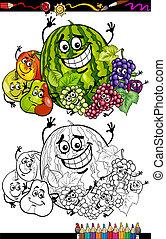 rysunek, kolorowanie, grupa, książka, owoce
