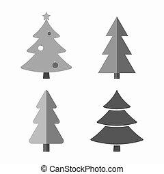 rysunek, komplet, drzewo, boże narodzenie, ikony