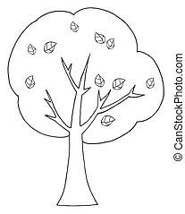 rysunek, konturowany, drzewo