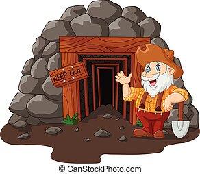 rysunek, kopalnia, wejście