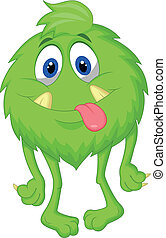 rysunek, kosmaty, zielony potwór