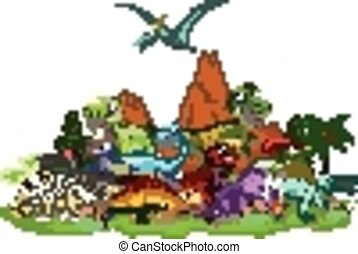 rysunek, krajobraz, dinozaur