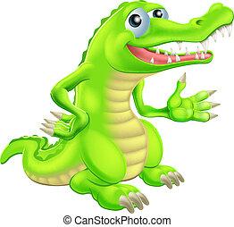 rysunek, krokodyl, ilustracja