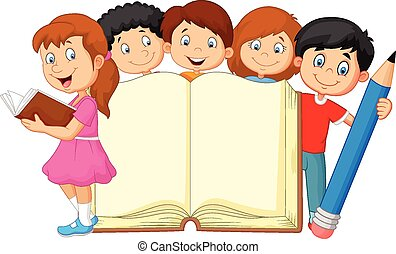 rysunek, książka, ołówek, dzieciaki