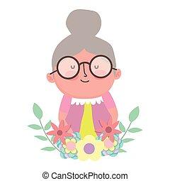 rysunek, litera, liście, dzień, dziadkowie, sprytny, ozdoba, babunia, kwiaty