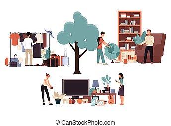 rysunek, ludzie, targ, garaż, pchła, sprzedaż, rzeczy, kupno