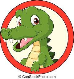 rysunek, maskotka, krokodyl