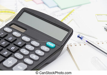 rysunek, narzędzia, z, busola, i, kalkulator