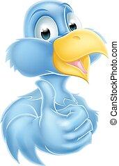 rysunek, niebieski ptak, maskotka