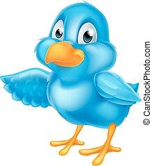 rysunek, niebieski ptak, spoinowanie, skrzydło