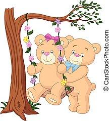 rysunek, niedźwiedź, para