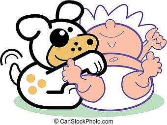 rysunek, niemowlę, noworodek, &, pies, chwyćcie sztukę
