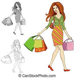 rysunek, od, niejaki, kobieta, z, zakupy