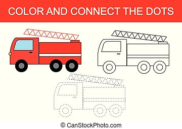 rysunek, ogień ucieczka, (transport)., kropka, do, kropka, oświatowy, gra, dla, children., kolorowanie, page.