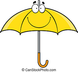rysunek, parasol, uśmiechanie się