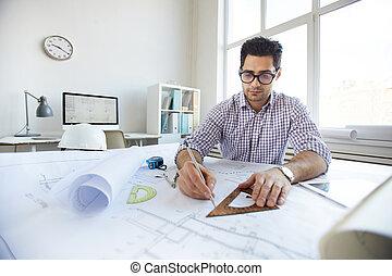 rysunek, plany, młody, inżynier