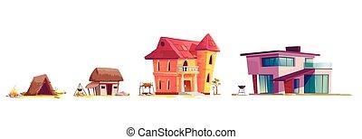 rysunek, pojęcie, architektura, dom, rozwój