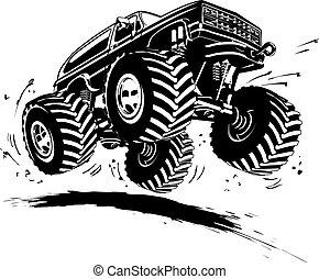 rysunek, potworny samochód