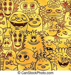 rysunek, potwory, seamless