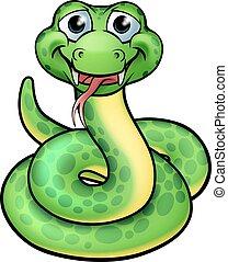 rysunek, przyjacielski, wąż