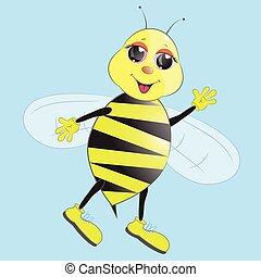 rysunek, pszczoła, sprytny, ilustracja, wektor