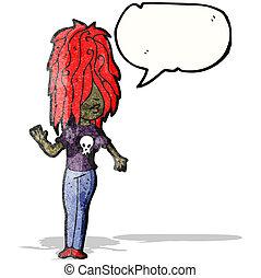 rysunek, punk, dziewczyna, z, bańka mowy