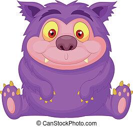 rysunek, purpurowy, sprytny, potwór