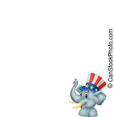 rysunek, republikanin, słoń, charact