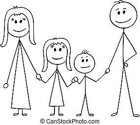 rysunek, rodzina, szczęśliwy