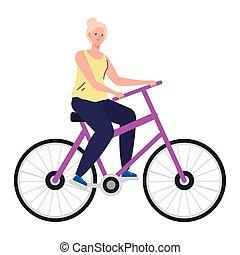 rysunek, rower, kobieta, senior, projektować, wektor, jeżdżenie