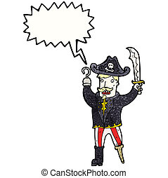 rysunek, rozkrzyczany, pirat, kapitan